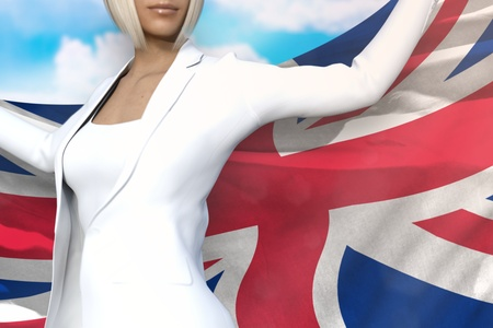 sexy business woman is holding United Kingdom (UK) flag in her hands behind her on the blue sky background - flag concept 3d illustration