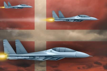 Denmark air strike concept. Modern war airplanes attack on Denmark flag background. 3d Illustration