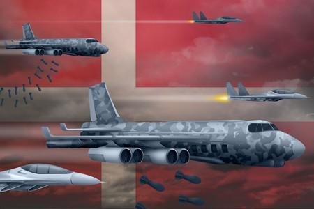 Denmark bomb air strike concept. Modern Denmark war airplanes bombing on flag background. 3d Illustration