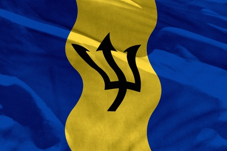 Fluttering Barbados flag for using as texture or background, the flag is waving on the wind