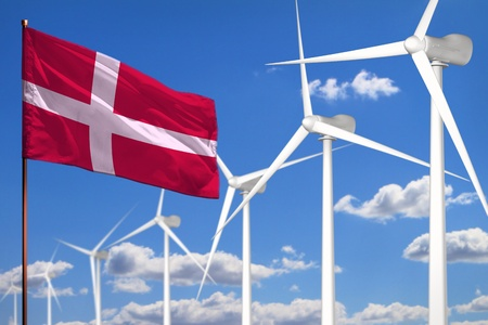 Denmark alternative energy, wind energy industrial concept with windmills and flag - alternative renewable energy industrial illustration, 3D illustration
