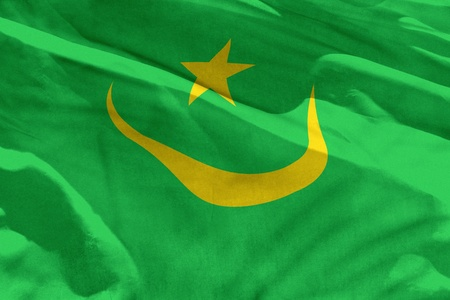 Fluttering Mauritania flag for using as texture or background, the flag is waving on the wind