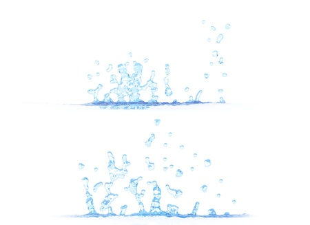 2 side views of beautiful water splash - 3D illustration, mockup isolated on white - for any purpose