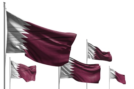 pretty five flags of Qatar are wave isolated on white - any occasion flag 3d illustration Stock Illustration - 123761284