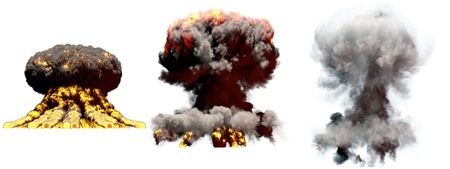 3 big different phases fire mushroom cloud explosion of fusion bomb with smoke and flames isolated on white - 3D illustration of explosion Banque d'images - 123761373