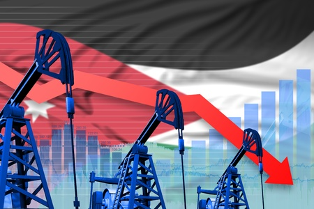Jordan oil industry concept, industrial illustration - lowering, falling graph on Jordan flag background. 3D Illustration