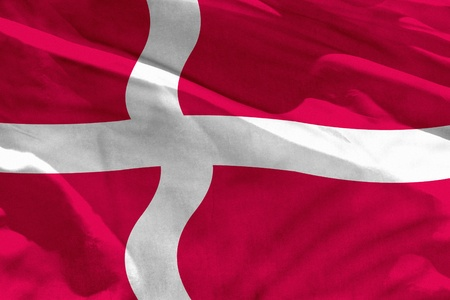 Fluttering Denmark flag for using as texture or background, the flag is waving on the wind Stock fotó