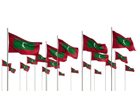 nice memorial day flag 3d illustration  - many Maldives flags in a row isolated on white with free space for content