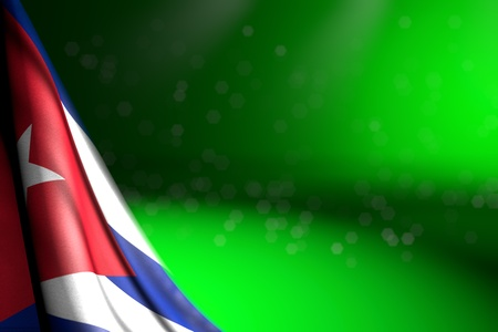 pretty feast flag 3d illustration  - photo of Cuba flag hangs in corner on green with bokeh and free space for content