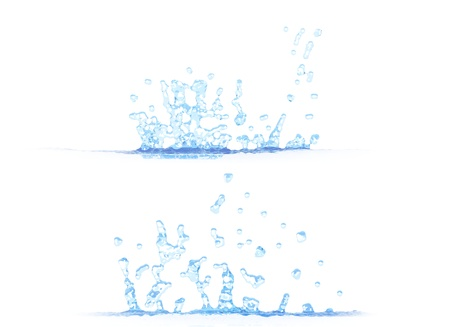 two side views of pretty water splash - 3D illustration, mockup isolated on white - creative illustration