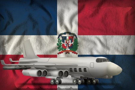 bomber on the Dominican Republic flag background. 3d Illustration