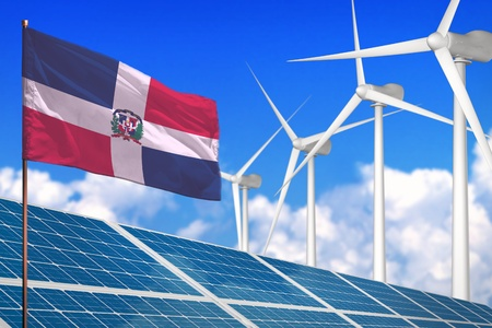Dominican Republic solar and wind energy, renewable energy concept with windmills - renewable energy against global warming - industrial illustration, 3D illustration
