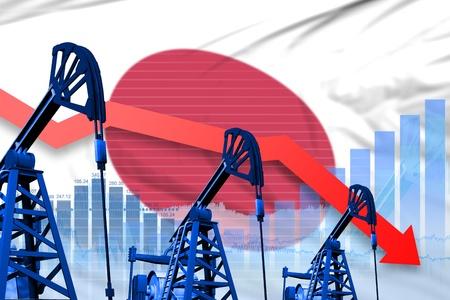Japan oil industry concept, industrial illustration - lowering, falling graph on Japan flag background. 3D Illustration