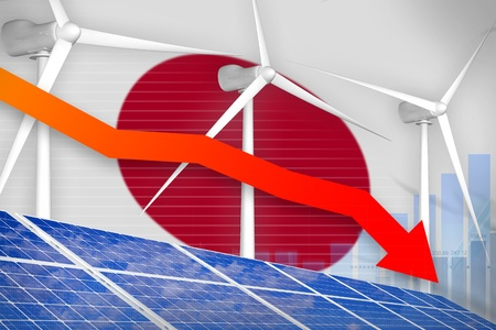 Japan solar and wind energy lowering chart, arrow down  - environmental energy industrial illustration. 3D Illustration