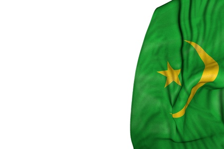 beautiful Mauritania flag with large folds lie in left side isolated on white - any holiday flag 3d illustration Stock Photo