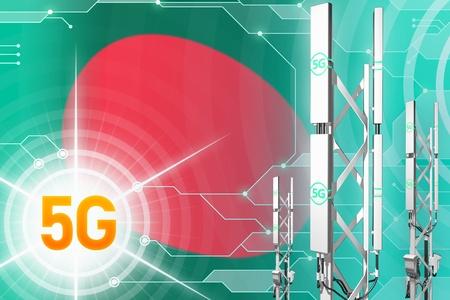 Bangladesh 5G network industrial illustration, big cellular tower or mast on hi-tech background with the flag - 3D Illustration Reklamní fotografie