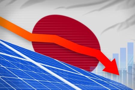 Japan solar energy power lowering chart, arrow down  - green energy industrial illustration. 3D Illustration Foto de archivo - 124754256