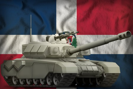 heavy tank on the Dominican Republic flag background. 3d Illustration Imagens
