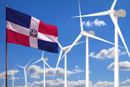 Dominican Republic alternative energy, wind energy industrial concept with windmills and flag - alternative renewable energy industrial illustration, 3D illustration