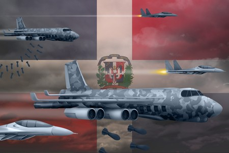 Dominican Republic bomb air strike concept. Modern Dominican Republic war airplanes bombing on flag background. 3d Illustration Imagens