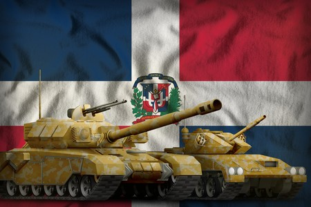 tanks with orange camouflage on the Dominican Republic flag background. Dominican Republic tank forces concept. 3d Illustration Imagens