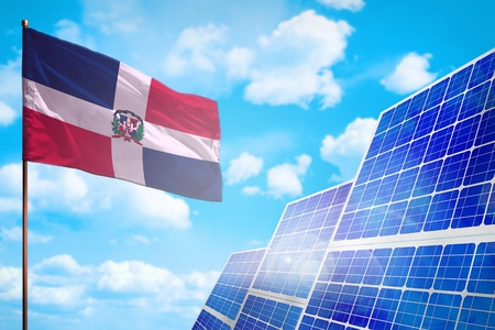 Dominican Republic alternative energy, solar energy concept with flag - symbol of fight with global warming - industrial illustration, 3D illustration