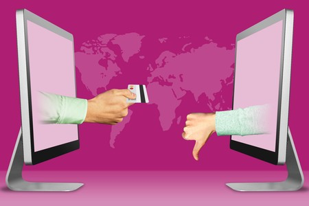 e-commerce concept, hands from displays. hand with credit card and thumbs down, dislike . 3d illustration Banco de Imagens