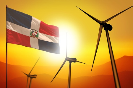 Dominican Republic wind energy, alternative energy environment concept with turbines and flag on sunset - alternative renewable energy - industrial illustration, 3D illustration