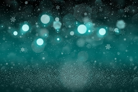 light blue fantastic bright abstract background glitter lights with falling snow flakes fly defocused bokeh - celebratory mockup texture with blank space for your content