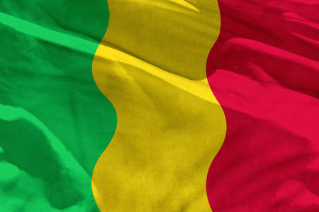 Fluttering Mali flag for using as texture or background, the flag is waving on the wind