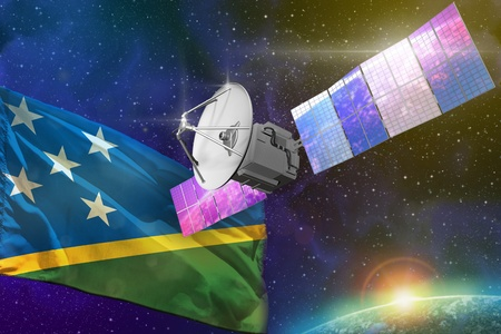 Satellite with Solomon Islands flag, space communications technology concept - 3D Illustration