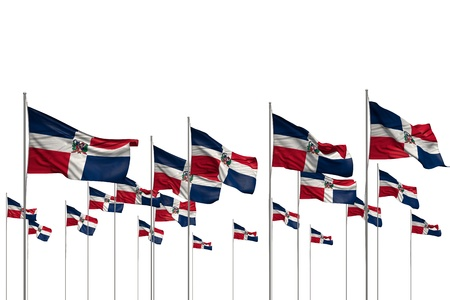 beautiful feast flag 3d illustration  - many Dominican Republic flags in a row isolated on white with empty place for text Imagens