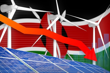 Kenya solar and wind energy lowering chart, arrow down  - environmental energy industrial illustration. 3D Illustration