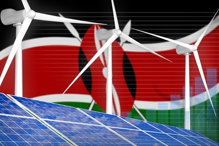 Kenya solar and wind energy digital graph concept  - renewable energy industrial illustration. 3D Illustration