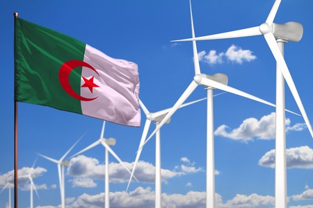 Algeria alternative energy, wind energy industrial concept with windmills and flag - alternative renewable energy industrial illustration, 3D illustration