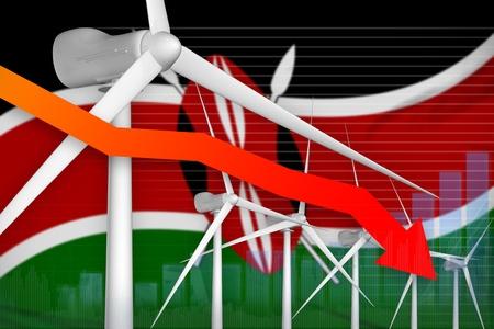 Kenya wind energy power lowering chart, arrow down  - modern energy industrial illustration. 3D Illustration