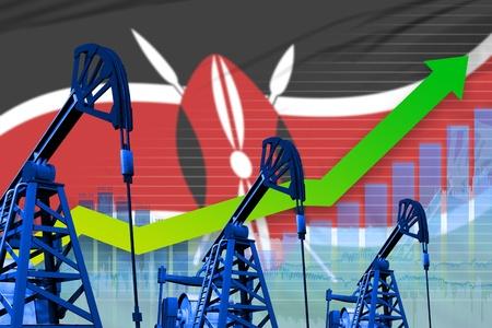 Kenya oil industry concept, industrial illustration - growing graph on Kenya flag background. 3D Illustration Stock Photo