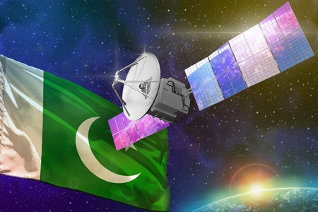 Satellite with Pakistan flag, space communications technology concept - 3D Illustration