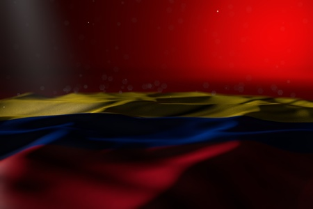 beautiful celebration flag 3d illustration  - dark illustration of Colombia flag lay on red background with bokeh and free place for text 写真素材