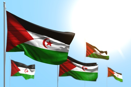 beautiful 5 flags of Western Sahara are waving against blue sky picture with bokeh - any celebration flag 3d illustration 写真素材