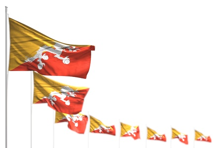nice Bhutan isolated flags placed diagonal, photo with bokeh and space for content - any holiday flag 3d illustration