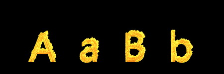 creative 3D illustration of symbols - capital (uppercase) and lowercase letters A and B of dense burning fire alphabet isolated on black background Stok Fotoğraf