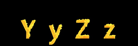 capital (uppercase) and lowercase letters Y and Z of flaming fire alphabet isolated on black background - design 3D illustration of symbols