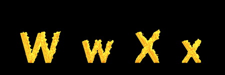 capital (uppercase) and lowercase letters W and X of infernal fire alphabet isolated on black background - creative 3D illustration of symbols