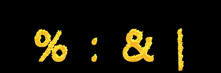 colon percent ampersand and vertical bar of glowing fire alphabet isolated on black background - creative 3D illustration of symbols