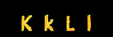 creative 3D illustration of symbols - capital (uppercase) and lowercase letters K and L of flaming fire alphabet isolated on black background Stok Fotoğraf