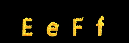 design 3D illustration of symbols - capital (uppercase) and lowercase letters E and F of glowing fire alphabet isolated on black background