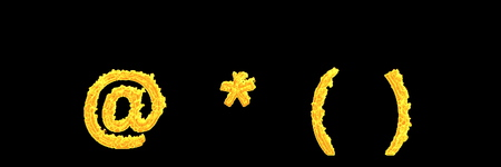 creative 3D illustration of symbols - parentheses (brackets) asterisk and at sign of flaming fire alphabet isolated on black background