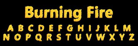 design 3D illustration of symbols - complete letters set of infernal fire alphabet isolated on black background