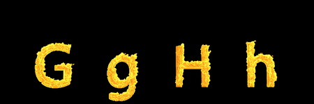 design 3D illustration of symbols - capital (uppercase) and lowercase letters G and H of dense burning fire alphabet isolated on black background